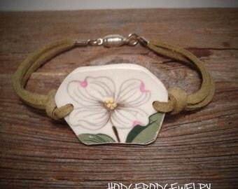 Leather Broken China Bracelet Handmade Jewelry Dogwood
