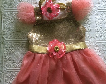 SALE-Sequin gold dress, gold and pink toddler dress, sequins dress, birthday dress, princess dress, holiday dress, Christmas dress, gold