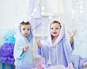 Girls bathrobe – purple hooded robe – pink girl robe - soft baby towel - toddler baby hooded poncho towel