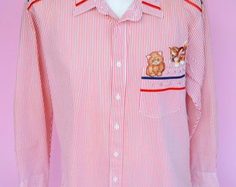 Vintage 80s PGB, 90s, Funny Cat Patches, Red Stripes, Oxford Shirt, 1980s, 1990s, Ugly, Tacky Shirt, White, Blue, Unisex Size Large, X Large