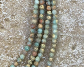 Round Opal Beads - Faceted Round Blue Opal Beads - 4mm round, FULL 16' strand (about 101 beads) - G504