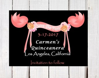 Save the date - Quinceanera announcements - Sweet 16 announcements -  Chalkboard - pink and coral - Quince  announcements