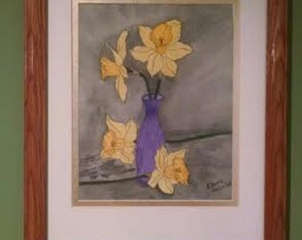 Daffodil, Jonquill, Narcissus Watercolor Painting with Oak Frame