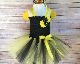 Bee costume - bumble bee tutu -  halloween costume - bee dress - bumble bee halloween costume - yellow and black tutu - girls dress up