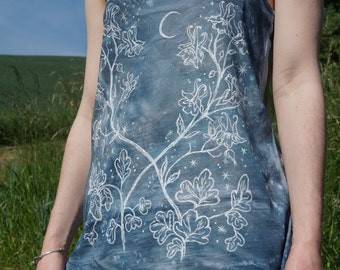 Aquilegia - handpainted, handdyed strap top, dusky blue - sizes S, M and L