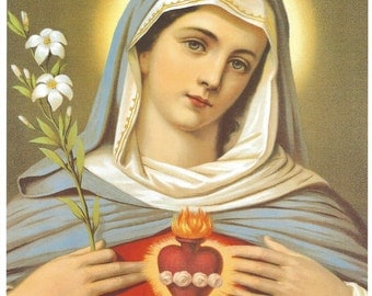 "Immaculate Heart of Mary picture Catholic Art Print  - 8"" x 10"" - ready to frame!"