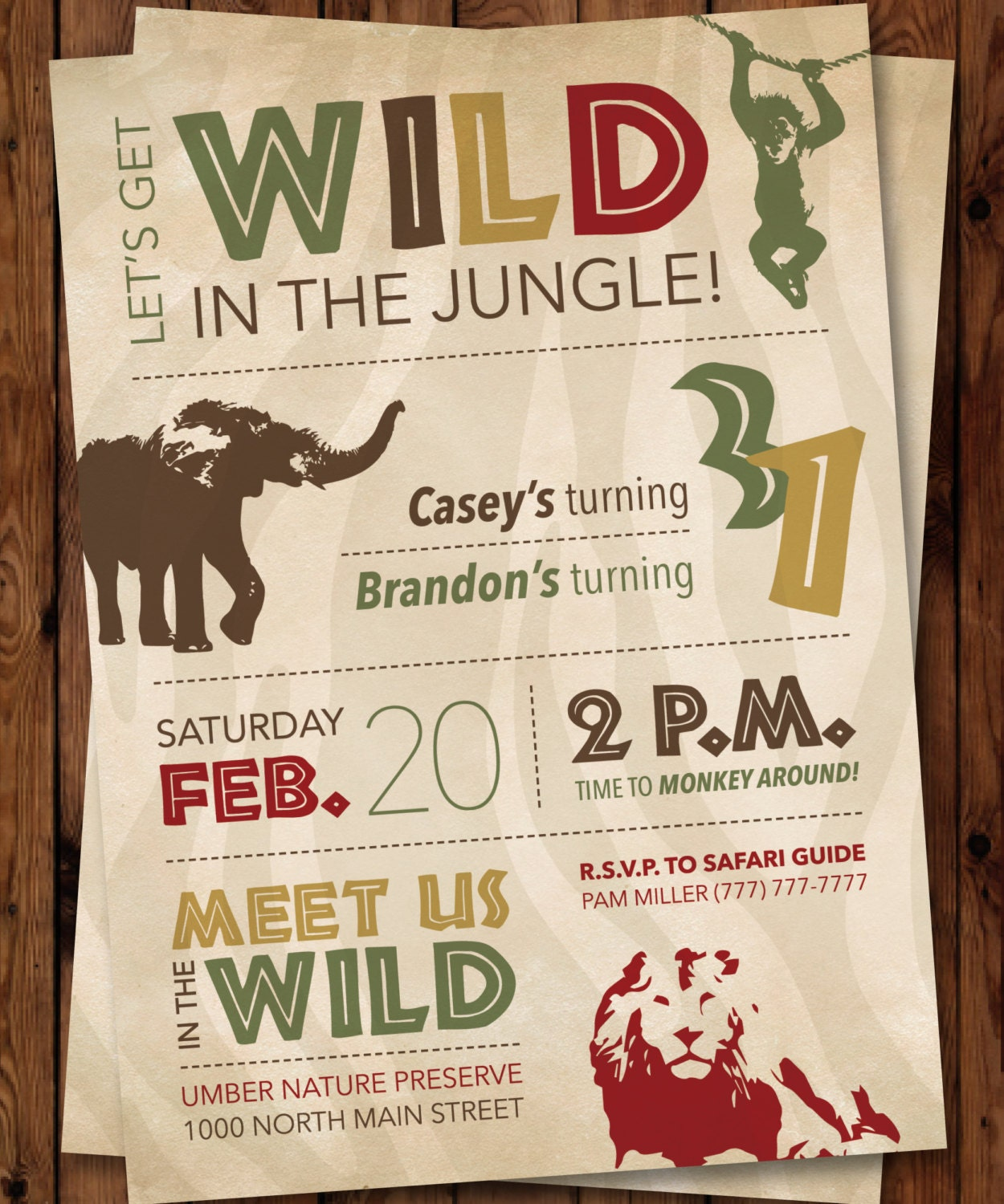 Jungle Invitation/Wild Birthday Invitation/Safari