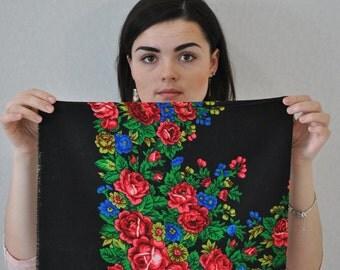 Chale russe Vintage Russian shawl Wool shawl Floral scarf Black shawl Piano shawl Vintage shawl Babushka Scarf Winter shawl