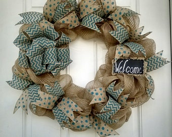 Deco mesh wreath ~ Everyday deco mesh wreath ~ Welcome wreath ~ Everyday wreath ~ natural and blue wreath