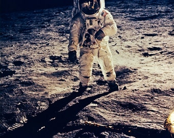 NASA photo, astronaut Buzz Aldrin on the moon, Apollo 11, 1969