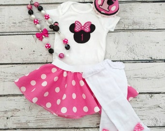 Pink Minnie Mouse Birthday Outfit