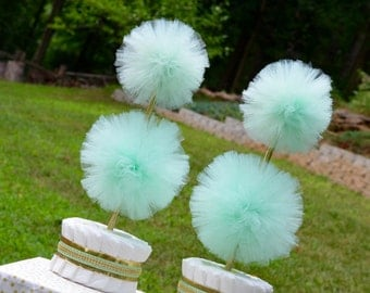 Mint Green and Gold Baby Shower Centerpieces - Mint Green Shower - Tulle Decorations - Tulle Pom Pom - Gender Neutral Shower Decorations