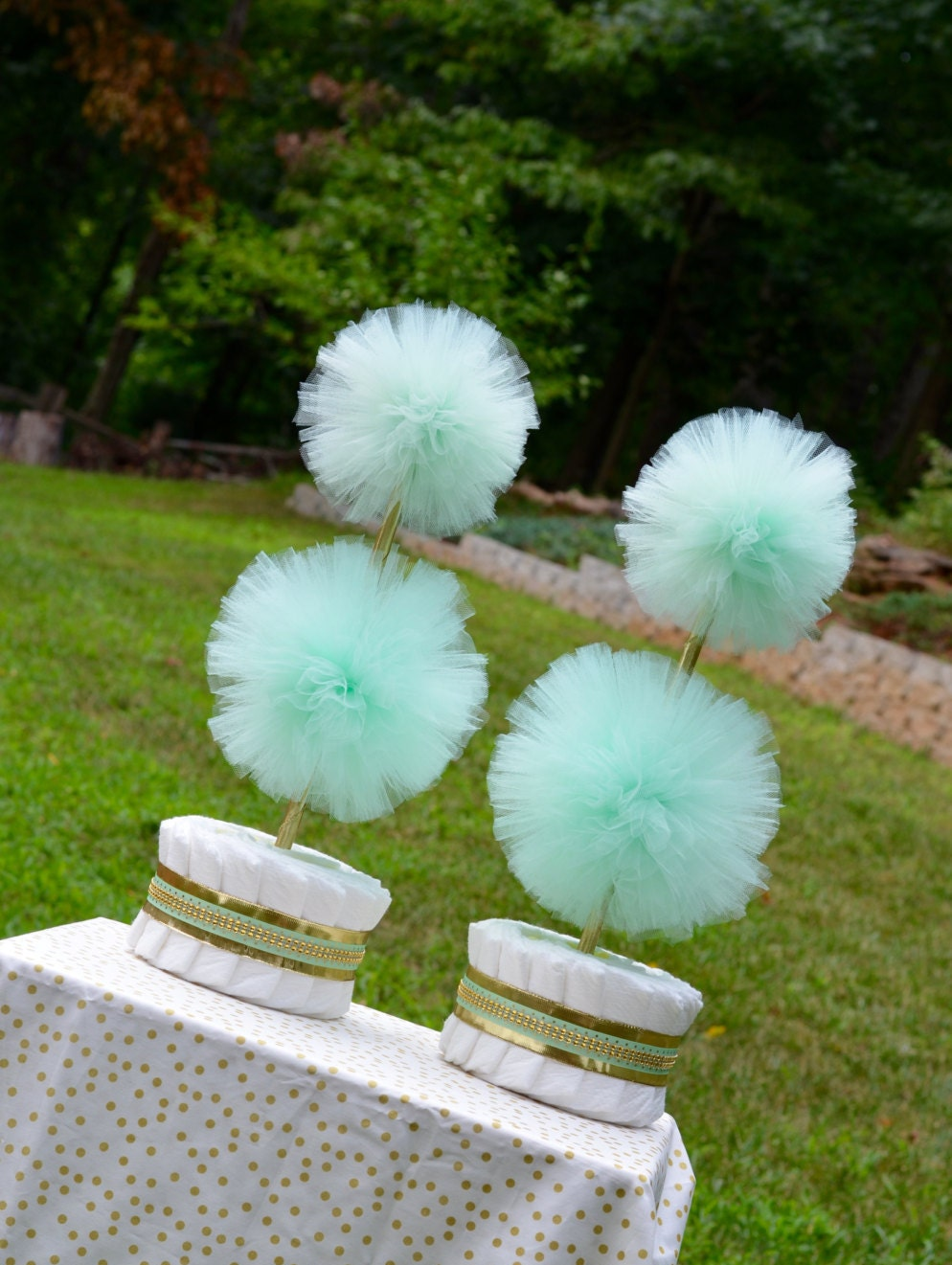 Mint green and gold baby shower centerpieces mint green - Baby deko mint ...
