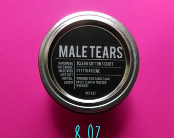 Male Tears Candle,  Cotton Scented, Soy Candle by Etta Arlene