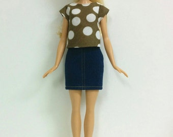 Brown Top & Denim Skirt (for Barbie Fashionista/Style Dolls)