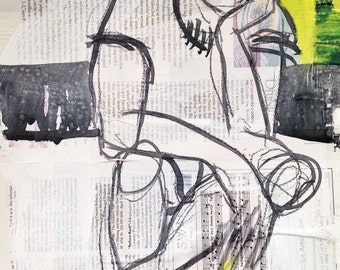 """Collage, Painting, Sketch, """"Frank after the party"""", Berlin, artist, Original"""