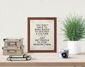 Ray Bradbury - Dystopian Sci Fi Literary Quote Small Poster, Printable Art, Retro Modern Home, Instant Download