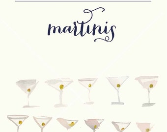 Hand painted Watercolor Martini glass clipart with olives