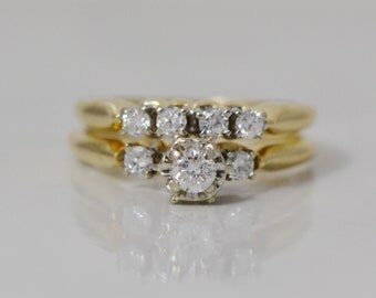 Wedding Set, .44 carats total - 14K Yellow Gold - .20 ct Diamond Center w/2 accents stones Engagement Ring; 4 Diamond Wedding Band  LB128