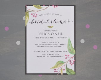 """Bridal Shower Invitation - The """"Erica"""" Collection"""