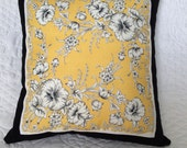 Hanky Pillow featuring Vintage Pansy Design On Golden Yellow Background