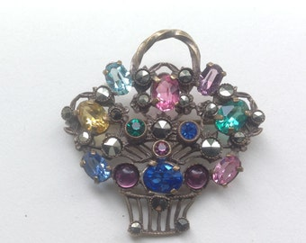 Vintage multicoloured paste and Marcasite flower basket, giardinetti brooch, 1930s.