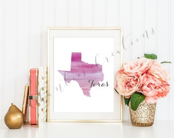 Texas State Pink Ombre Watercolor Printable Art. Texas State Love Printable. Texas Silhouette Outline Watercolor State.