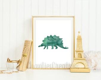 Stegosaurus Dark Green Watercolor Wall Art Printable. Dinosaur Watercolor Wall Art Printable. Boys Room Dinosaur Wall Art.