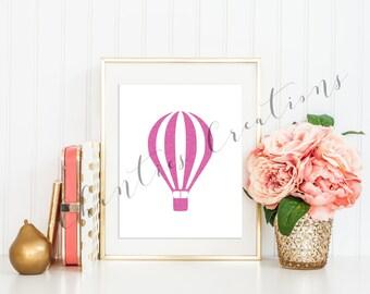 Hot Air Balloon Pink Glitter Wall Art Printable. Girls Room Nursery Printable Wall Artwork.