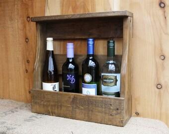 Rustic wine rack/ 4 bottle holder with shelf - pallet wood wine storage- 3 Finishes - Medium Oak / Dark Oak / Natural.