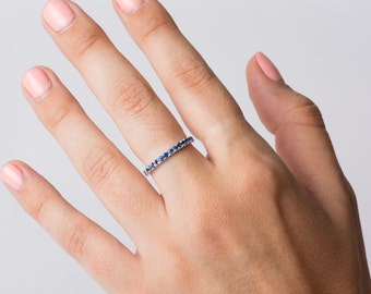 Pave Blue Sapphire Ring, 14K White Gold, Stacking Band, Deep Blue Sapphire Band, Wedding Ring, Delicate Sapphires Ring