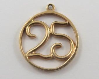 25 Milestone 14K Gold Vintage Charm For Bracelet