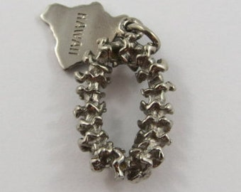 Flower Lei With Hawaii Tag Sterling Silver Vintage Charm For Bracelet
