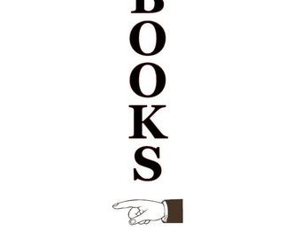 Pointing Books sign Vinyl Decal Wall Decor