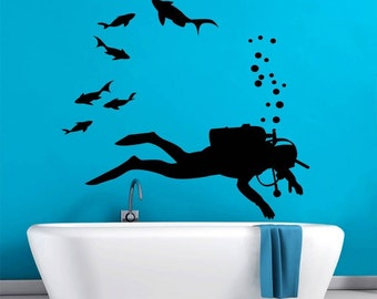 Diver Shape Silhouette Underwater World Wall Decal