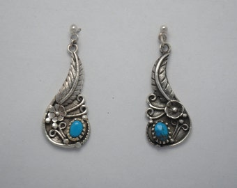 Vintage silver earrings, native american earrings, boho earrings, ethnic earrings, vintage jewelry, turquoise jewelry, dangle earrings