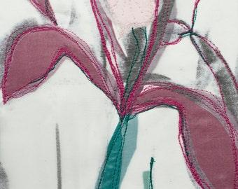 Free motion stitched mixed media/fiber art - Iris