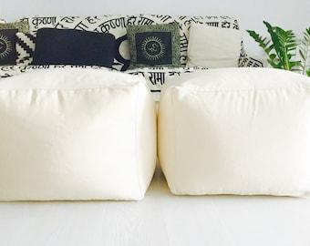 "Pouf ottoman nordic style - Pouff cotton - Modern fabric pouff - Puff - Ottoman - Floor cushion - Modern pouf - SQUARE (20"" - 50 cms.)"