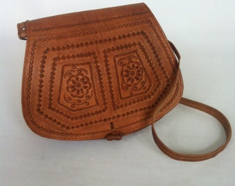 Moroccan Handcrafted Camel Brown leather Saddle Bag SMALL