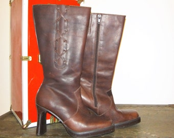 Vintage 90's Seychelles Dark Brown Leather High Heel Boots/ Espresso Leather Boots/ Size 8.5 Leather High Heel Boots