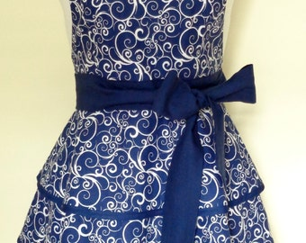 Dark Blue Apron with White Swirls, Navy Blue Layered Skirt Apron, 3 Tiered Skirt Apron, Blue Retro Apron, Blue Apron Hostess Gift