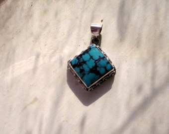 Turquoise & Sterling Silver Southwestern Style Pendant - #56