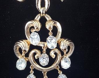 Vintage 1950's-1960's Trifari Brooch, Gold Brooch with Dangling Rhinestones