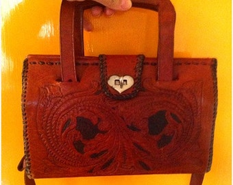 Vintage 70s 70's boho festival hippie hippy orangey brown leather tooled bag handbag purse with heart clasp!