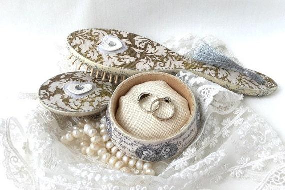 Wooden Jewelry Box Hairbrush Gift Wedding Set Wedding Hair Accessories ...