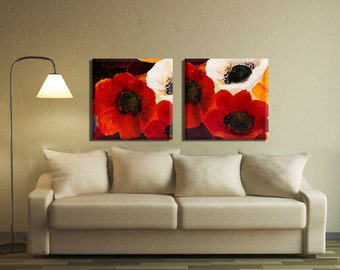 Anemone Flower Painting Colorful Painting Lovely Home Decor & Office Decor 2 Piece Flower Artwork Anemone Bouquet Painting By Miri Lavee
