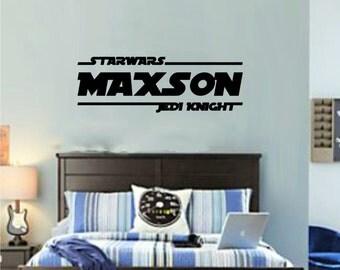 Star Wars Wall Decal, Jedi Knight, Star Wars Art, Dorm Room Decal, Personalized, Star Wars Sticker, Wall Decal, Boys room, Geek, Star Wars