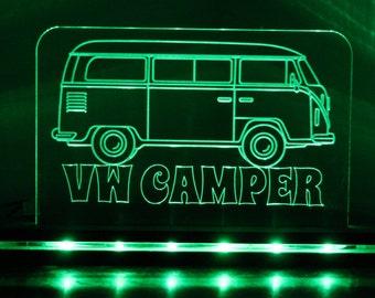 VW Camper Cool Acrylic Desk Lamp Gift Personalised Garage Mancave Volkswagon Edge Lit