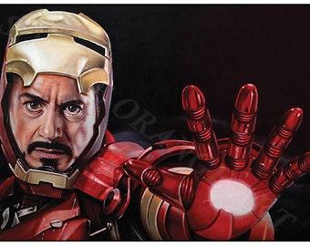 Iron Man Robert Downey Jr A4 Print from Original Oil Painting Super Hero Series