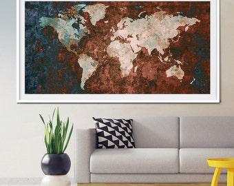 World Map Print, Wall Decor, World Map Art, Large World Map, Abstract Art Print, Abstract World Map, Abstract Painting, World Map Art (L9)